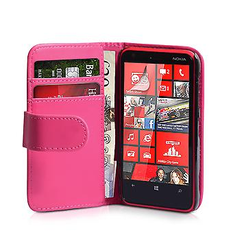 Nokia Lumia 620 læder-effekt tegnebog sag - Hot Pink