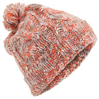 Womens/Ladies Orange Knitted Pom Pom Winter Hat