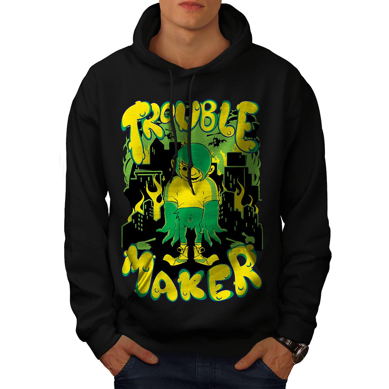 Trouble Maker Art Fashion Men Black Hoodie | Wellcoda