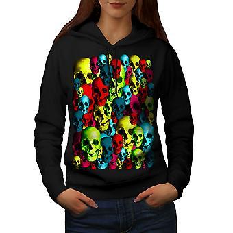 Colorful Pattern Women BlackHoodie | Wellcoda