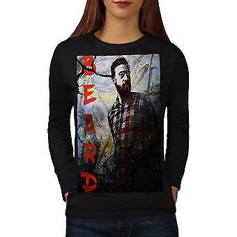 Skæg Hipster kunst mode kvinder Sort langærmet T-shirt | Wellcoda