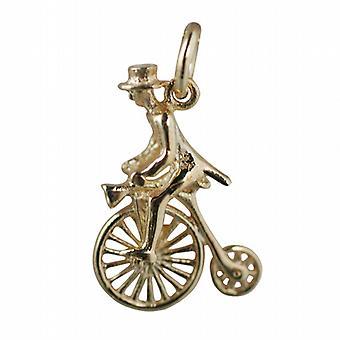 9ct Gold 22x15mm Hochrad mit Reiter im Zylinderhut Anhänger oder Charm