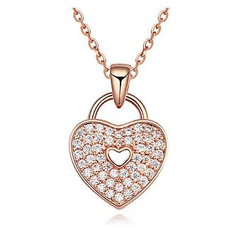 Womens Locked Love Heart Necklace Pendant in Rose Gold