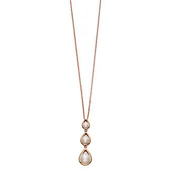 Elements Gold Triple Pearl Drop Pendant - Rose Gold/White