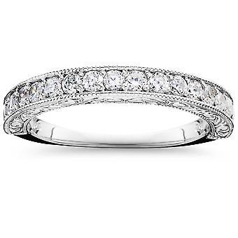 1/2 CT Vintage Natural Diamond Wedding Ring 14K White Gold