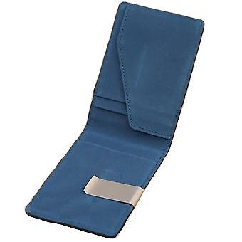 Blauw lederen metalen geld Clip ID Cash etui Bag Credit Card slanke houder UK