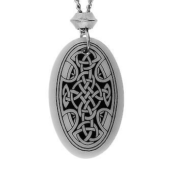 Handmade Celtic Nevern Cross Oval Shaped Porcelain Pendant