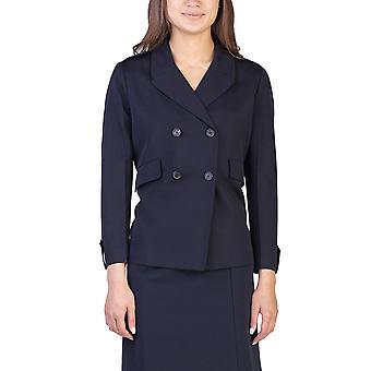 Prada Women's Wool Double Breasted Coat Navy
