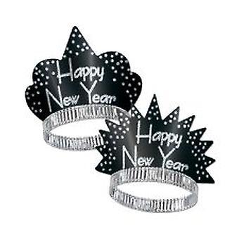 Feliz año nuevo brillante diadema lentejuelas - negro y plata (25)