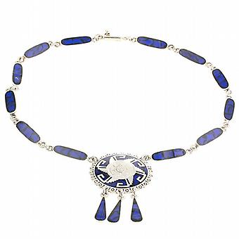 Blue Stone Silver Mayan Necklace