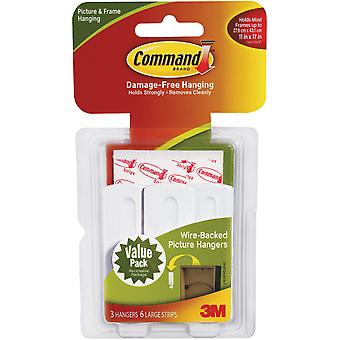 Command Large Wire-Backed Picture Hangers-White 3 Hooks & 6 Strips