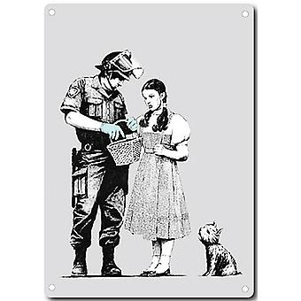 Banksy Policeman And Dorothy Metal Sign 200Mm X 140Mm