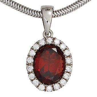 Corrente pingente 925 prata esterlina banhado a ródio 1 Granada com zirconia cúbico vermelho