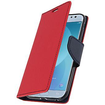 Fancy stil cover, tegnebog sag med stativ til Samsung Galaxy J3 2017 - rød