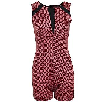 Ladies Sleeveless Black Contrast Dot Print Zip Back Women's Bodycon Playsuit