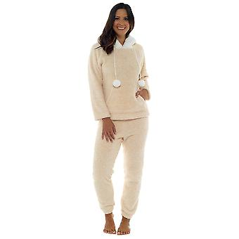 Foxbury Womens Thick Marl Cuddle Fleece Twosie Pyjamas