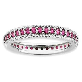 3,25 mm argento Polo set impilabile espressioni lucido creato Ruby eternità anello rodiato - formato dell'anello: 5