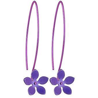 Ti2 titanio 13mm cinco pétalos flor pendientes de la gota - púrpura Imperial