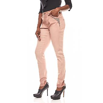 Linea TESINI ladies jeans rivet in the biker look Rosa