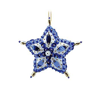 Pinflair Sequin & Pin Blue Star Christmas Bauble Ornaments - Makes 2