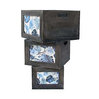 Set of 3 Decorative Wooden Boxes dark gray and blue-Re6135-Rebecca Furniture