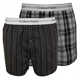 Calvin Klein Pack 2 rayas y cuadros tejidos calzoncillos Boxer ajustado, gris/negro