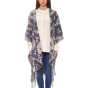 Tom Tailor Denim poncho with a fringed blue ethnic design