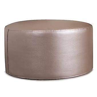 Icon® Ritz Pouffe - Silver Blush, Round Metallic Footstool - Faux Leather Footrest