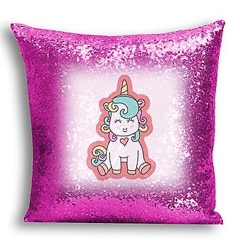 i-Tronixs - Unicorn Printed Design Pink Sequin Cushion / Pillow Cover for Home Decor - 19
