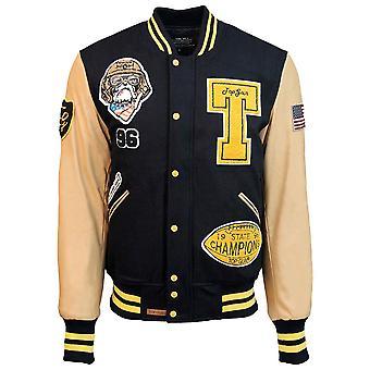 Top Gun Wool Leather Top Dog Varsity Bomber Jacket Navy
