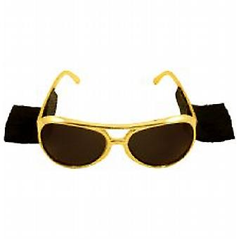 Les Lunettes Elvis or avec 70 Attaché Side Burns,