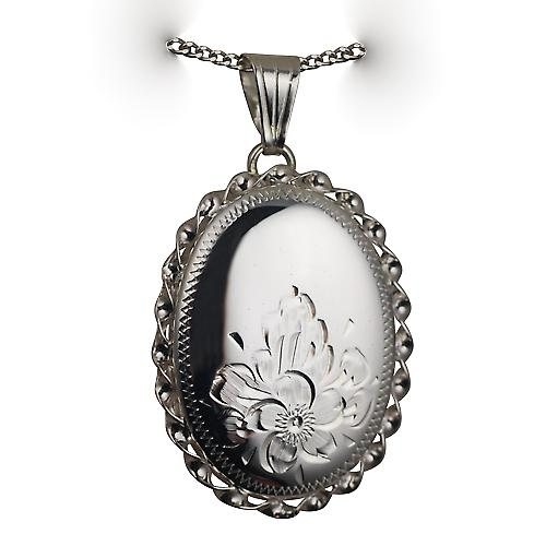 Silver 29x22mm half hand engraved flowers oval twisted wire edge Locket with a curb Chain 18 inches