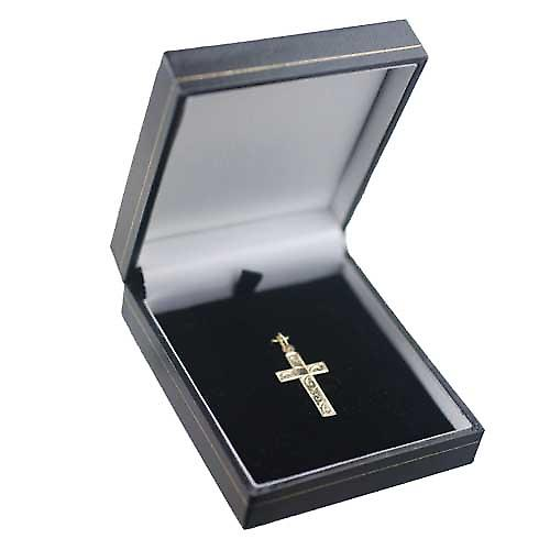 9ct Gold 24x14mm hand engraved flat latin Cross