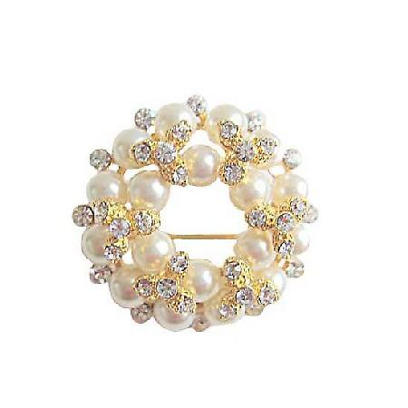Multi Pearls Round Gold Plated Brooch with Sparkling Diamond CZ