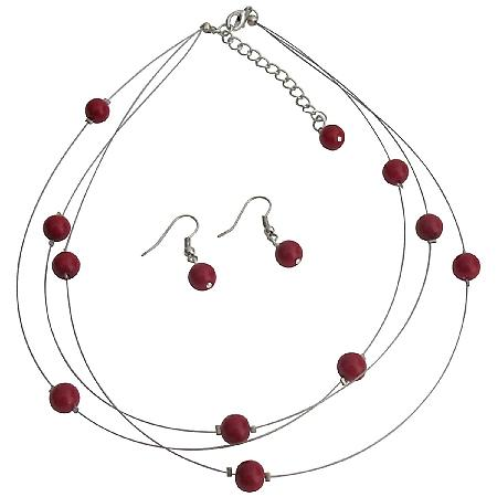 Red Floating Pearls Necklace and Earrings Set Three Stranded Necklace