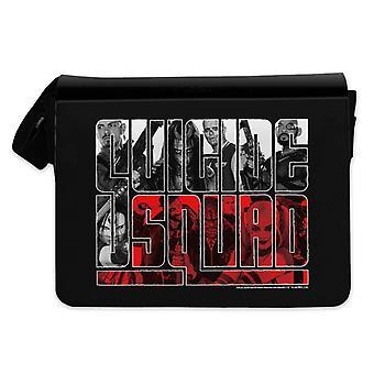 Selvmord squad Messenger taske trykte sort, logo, 100% polyester.