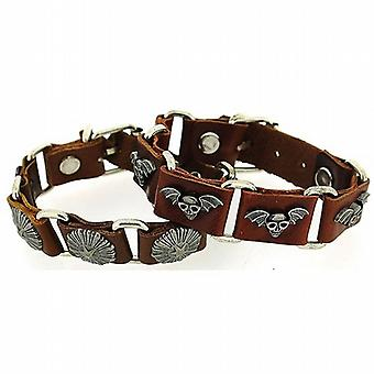 OOTB 2pack Gents Brown Leather Linked Bracelets With Metal Studs FJ1283