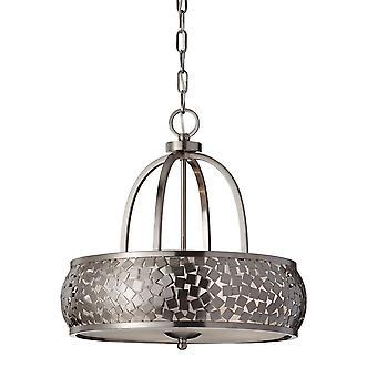 Zara fire lys lysekrone med sølv stof - Elstead belysning Fe / FE/ZARA4