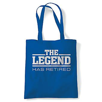 The Legend Has Retired Funny Tote | Office Designer Manual Labour Manager Employment | Reusable Shopping Cotton Canvas Long Handled Natural Shopper Eco-Friendly Fashion