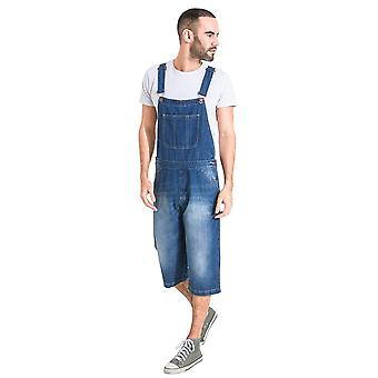 Mens loose fit denim dungaree shorts
