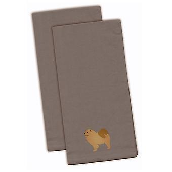 Чау-чау серый Вышитые кухонные полотенца комплект из 2