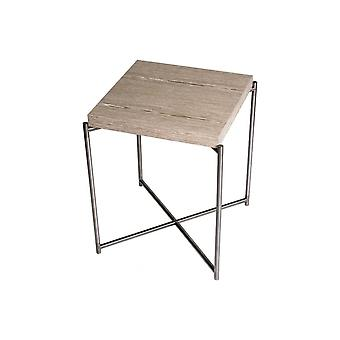Gillmore Space Weathered Oak Square Side Table With Gun Metal Cross Base