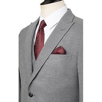 Dobell Mens Light Grey Suit Jacket Regular Fit Peak Lapel