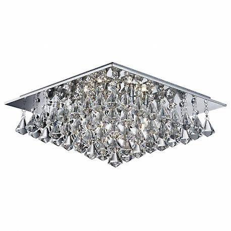 6 lumière Square Ceiling Semi Flush lumière Chrome With Pyramid crystals