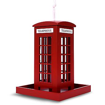 Modern Home Outdoor Wooden Birdhouse, Bird-Friendly Perch (London Telephone Booth Feeder)