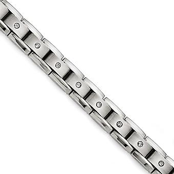 Titanium Polished Matte 1ct Tw. Diamond Bracelet - 1.00 dwt - 8 Inch