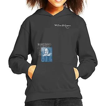 A.P.O.H Williams Shakespeare Writings Portrait Kid's Hooded Sweatshirt