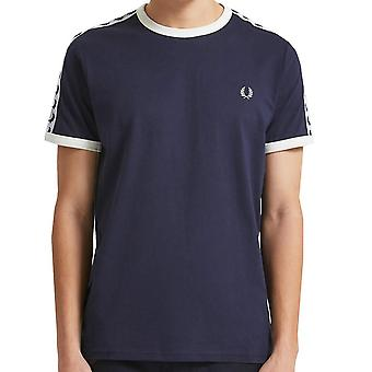 Fred Perry Taped Ringer TShirt   Carbon Blue