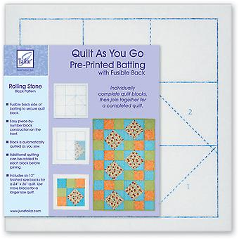 Quilt As You Go Printed Quilt Blocks On Batting-Rolling Stone JT1404