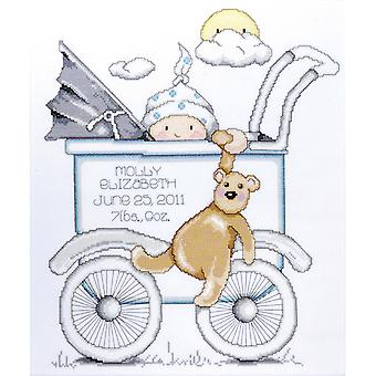Baby Buggy Boy Birth Record Counted Cross Stitch Kit 13
